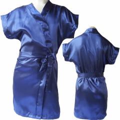 Robe Infantil de Cetim Feminino Daminha Azul Marinho