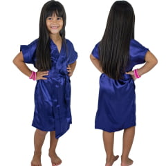Robe Infantil de Cetim Feminino Azul Marinho