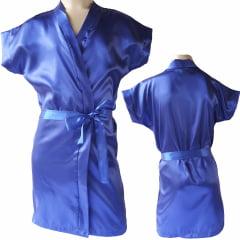 Robe Infantil de Cetim Feminino Azul Royal Klein