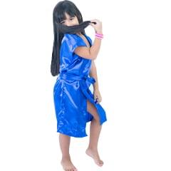 Robe Infantil de Cetim Feminino Daminha Azul Royal Klein