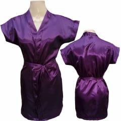 Robe Infantil de Cetim Feminino Berinjela