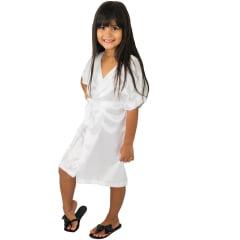 Robe Infantil de Cetim Feminino Branco