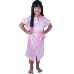 Robe Infantil de Cetim Feminino Daminha Chiclete Claro