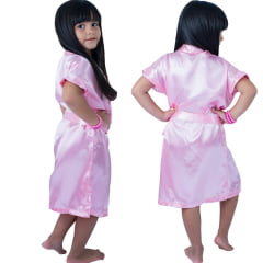 Robe Infantil de Cetim Feminino Chiclete  Claro