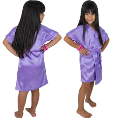 Robe Infantil de Cetim Feminino Lilás
