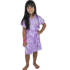 Robe Infantil de Cetim Feminino Daminha Lilás Claro Lavanda