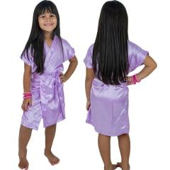 Robe Infantil de Cetim Feminino Lilás Claro Lavanda