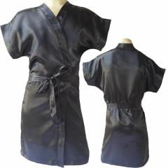 Robe Infantil de Cetim Feminino Preto