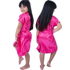 Robe Infantil de Cetim Feminino Daminha Rosa Pink