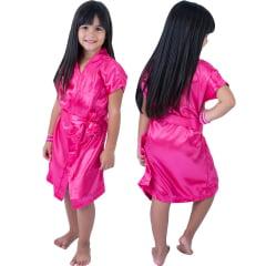 Robe Infantil de Cetim Feminino Rosa Pink