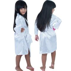 Robe Roupão Infantil Feminino de Cetim Manga Longa Branco