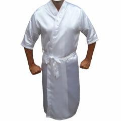 Robe Roupão Masculino de Cetim Com Elastano Manga 3/4 Branco