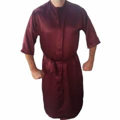 Robe Roupão Masculino de Cetim Com Elastano Manga 3/4 Vinho
