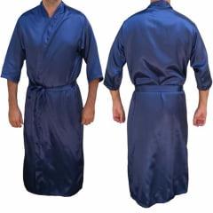 Robe Roupão Masculino de Cetim Manga 3/4 Azul Marinho