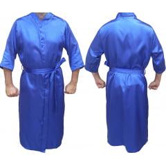 Robe Roupão Masculino de Cetim Manga 3/4 Azul Royal