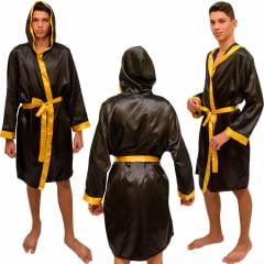 Robe Roupão de Cetim Masculino de Manga  Quimono Preto Faixa Dourado com Capuz